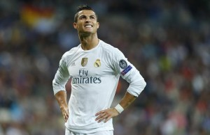 Real Madrid's Cristiano Ronaldo reacts during a Group A Champions League soccer match between Real Madrid and Shakhtar Donetsk at the Santiago Bernabeu stadium in Madrid, Spain, Tuesday, Sept. 15, 2015. (AP Photo/Francisco Seco)